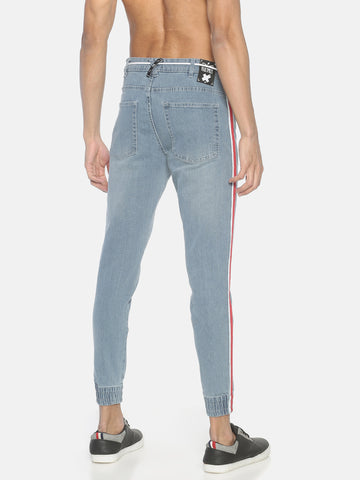 Skinny Jogger Style denim With Contrast Tapes