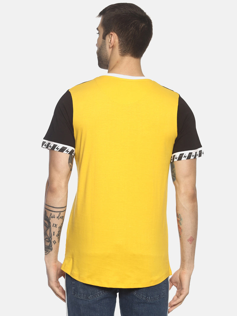 Colour Block , Round Neck Tshirt With Curve Hem