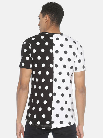 Round Neck Colour Block Allover Prints Polka Dot T-Shirt
