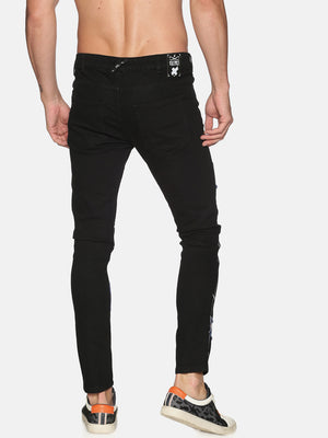 Kultprit Men's Skinny Jeans With Placement Print & Patch