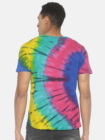 Tie Dye Short Sleeve Slim Fit Round Neck T shirt