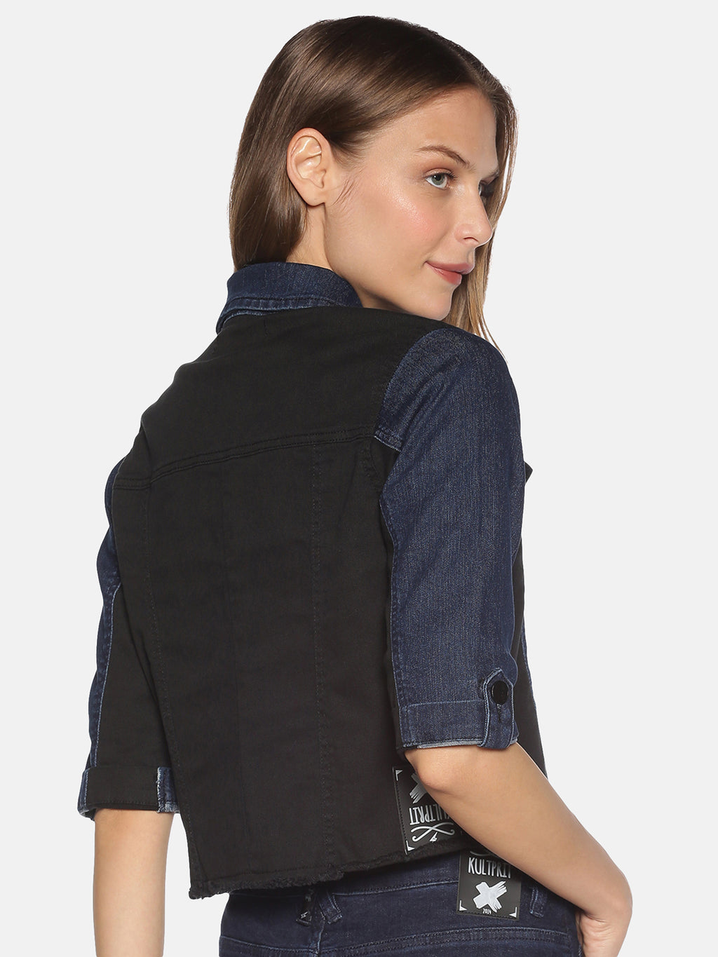 Crop Jacket With Contrast Colour Block Paneling And Dark Wash