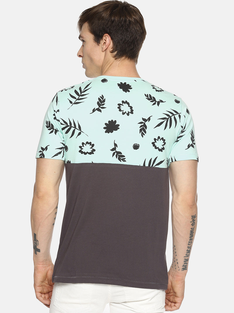 Grey tropical print t-shirt
