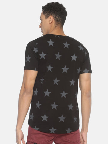 Round Neck Short Sleeve  T shirt With All Over Star Printed