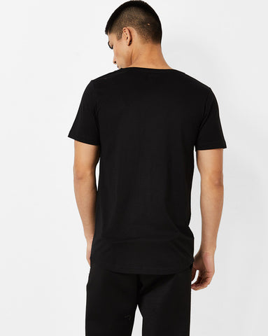 Deep V Neck T-Shirt with cut & sew on front panel