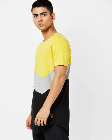 Round neck T-Shirt with asyemtrical hem and cut & sew panels