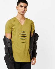 V neck T-Shirt with distress on front panel and contrast cut & sew underneath