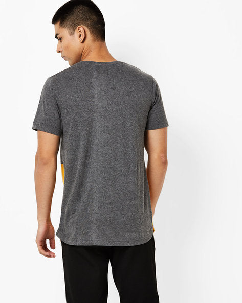 Round neck T-Shirt with distress on front panel and contrast cut & sew underneath