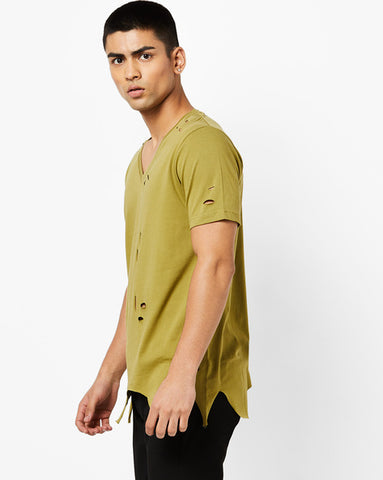 Deep V Neck T-Shirt with heavy distres