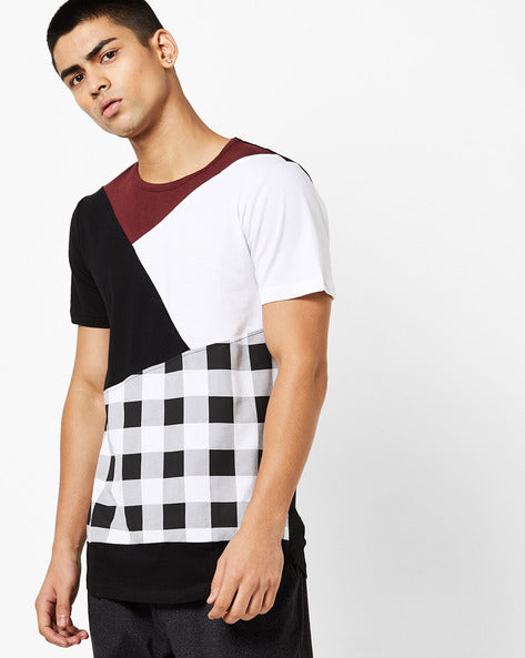 Round Neck T-Shirt with cut & sew on front panels