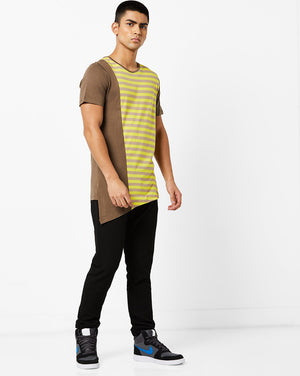 Round Neck T-Shirt with cut & sew on front panel and asyemtrical hem