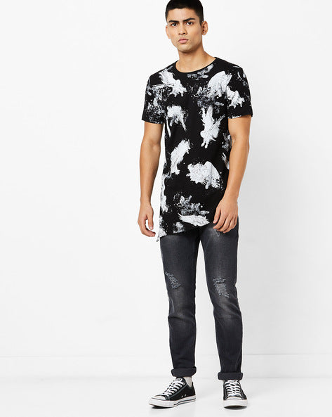 Round Neck T-Shirt with all over print and asyemtrical hem