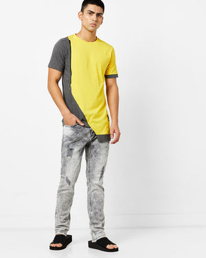 Round Neck T-Shirt with cut & sew panel, zip and asyemtrical hem