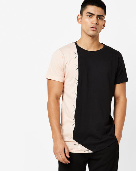 Round Neck T-Shirt with cut & sew on front panel
