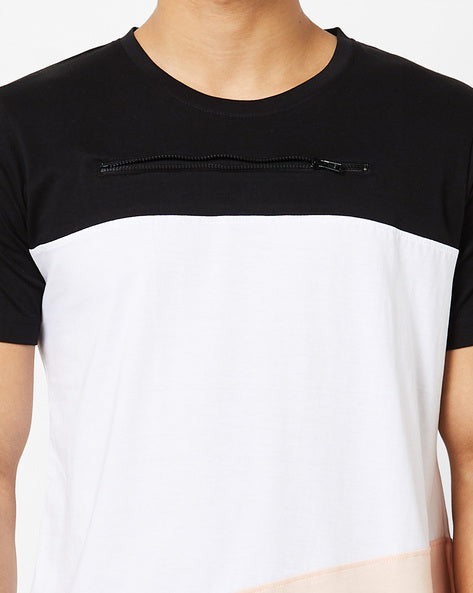 Round neck T-Shirt with Cut & Sew Panels & zip