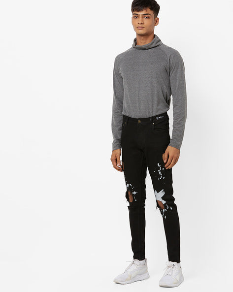 Slim Fit Distressed Jeans with Splatter Print