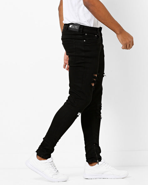 Mid-Rise Distressed Jeans with Zipper Hems