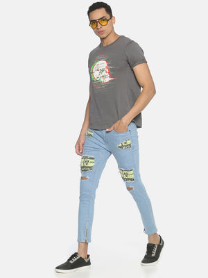 Skinny Denim With Warning Insert And Distrss