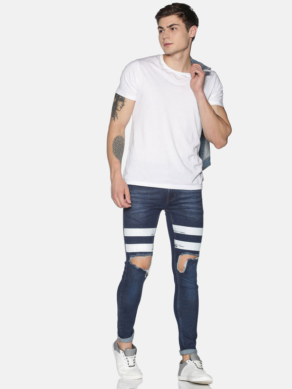 Fashion Dark blue Jeans with pritn at thigh & back pocket