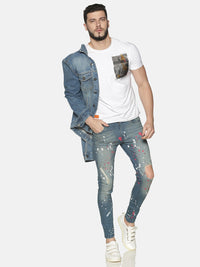 Impackt Men's Skinny Jeans With Allover Print & Knee Ripped