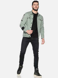 Kultprit Men's Full Sleeves Denim Jackets With Back & Sleeves Distressed and Ripped Pintuck