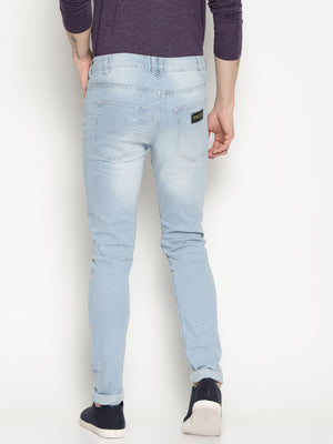 light blue denim heavy washed jeans