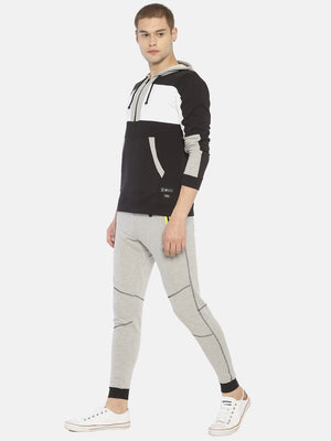 Cut And Sew Colour Block Sweatshirt With hooded