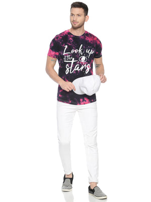Fashionable style T-Shirt ideal for men with Placement Print Tie Dye