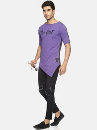 Men Purple & Mauve Colourblocked Round Neck Slim Fit T-Shirt