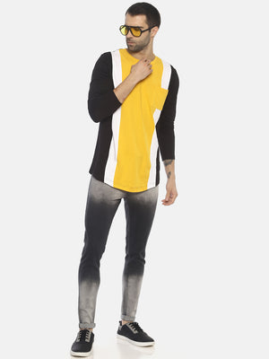 Cut & Sew ,Round Neck Full Sleeve Tshirt With Curve Hem