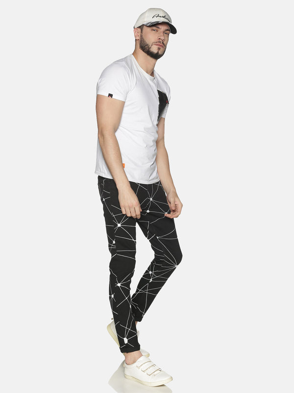 Kultprit Men's Skinny Jeans With Allover Print