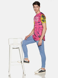 Kultprit Men's Half Sleeve T-Shirts With Tye & Dye and Placement Print