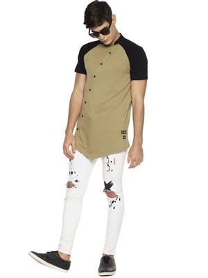 Beige color block raglan t-shirt