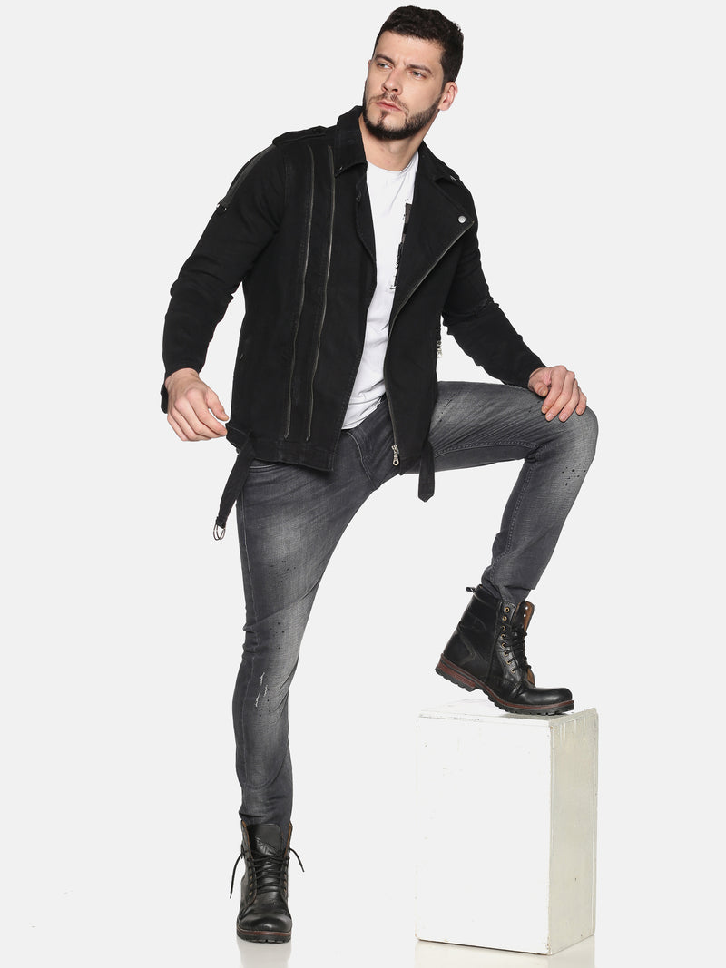 Kultprit Men's Full Sleeves Denim Jackets With Lapel & Distressed