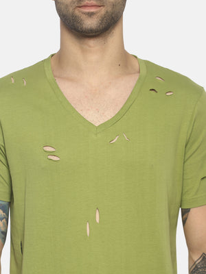 Solid Olive Green Ripped T-Shirt