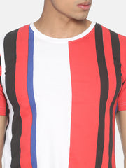 Round Neck Short Sleeve T-Shirt With All Over Striped Print
