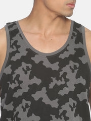 Acid Wash Sleeveless Slim Fit Round Neck T shirt With Back Print