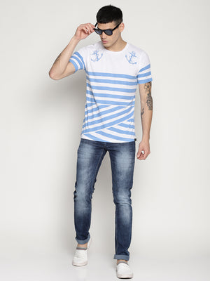 Impackt blue striped round neck t-shirt