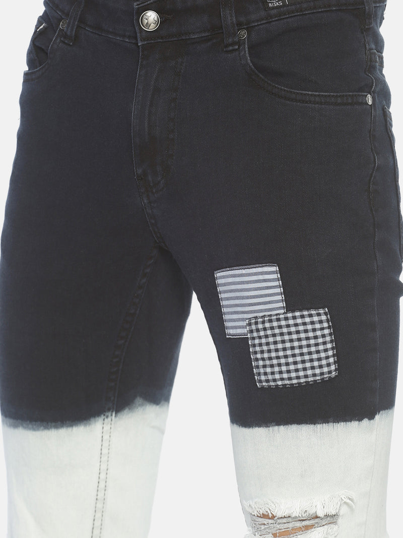 Ombre Rugged Skinny Jeans With Patch