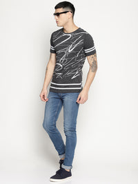 grey all over print t-shirt