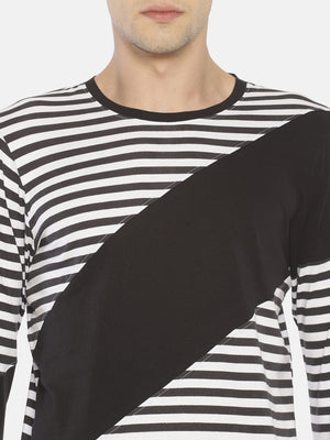 Cut & Sew Round Neck Full Sleeve Tshirt with Curve Hem