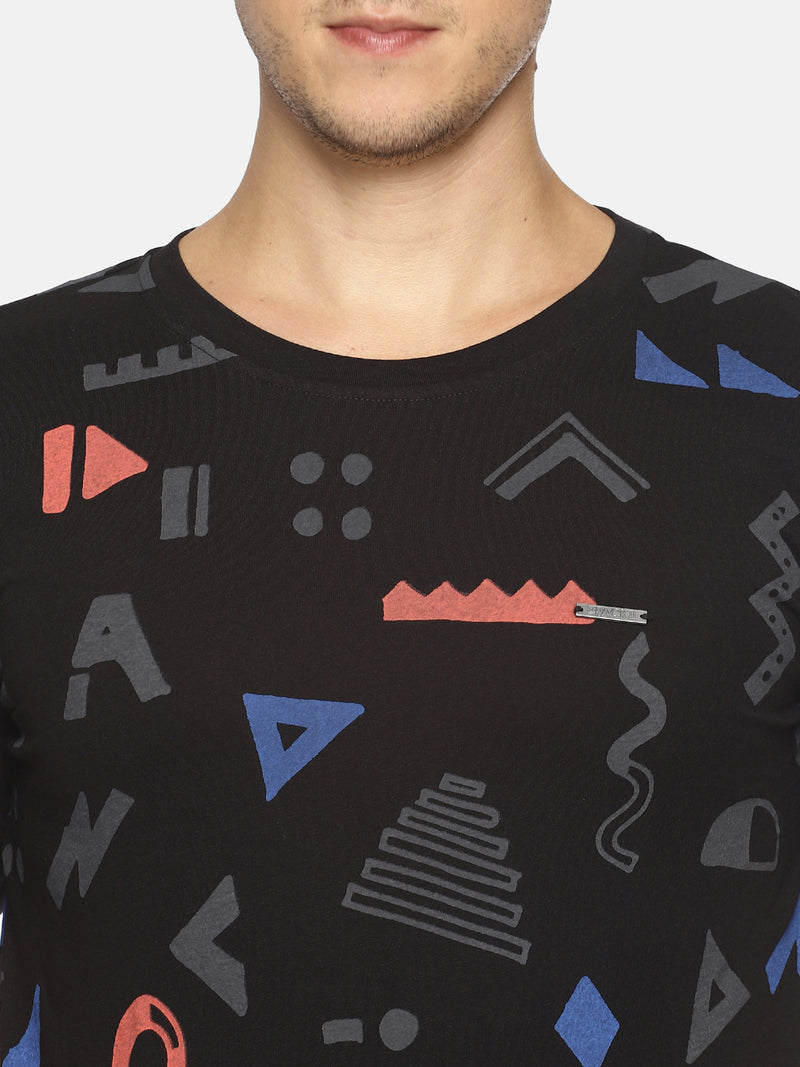 Black all over print t-shirt