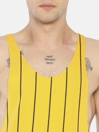 Deep Armhole Round Neck Sleeveless T shirt With All Over Stripe Print