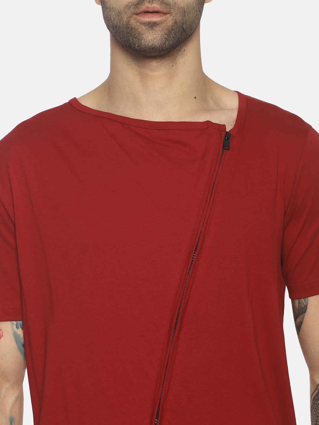 New Granded Collar T shirt With Zipper