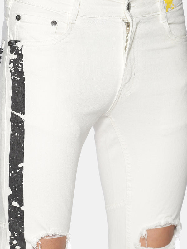 Fashion White Jeans with Print at fron & back with back pocket