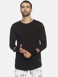 Round Neck T- Shirt With Cut Sleeve And Thumb Hook