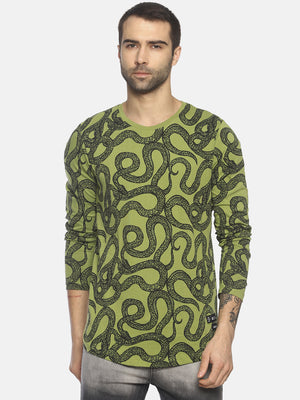 Printed Round Neck Full Sleeve T shirt With Curve Hem