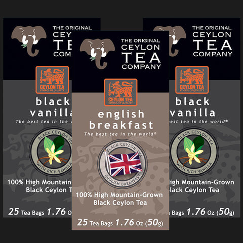 Super Mix 2 x Black Vanilla , 1 x English Breakfast