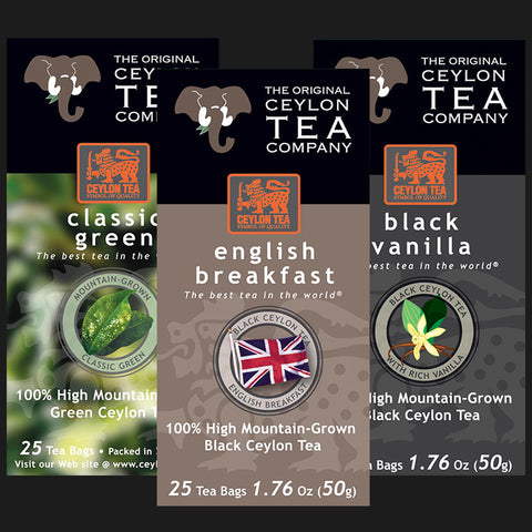 Super Mix Green Tea Classic, English Breakfast, Black Vanilla Super