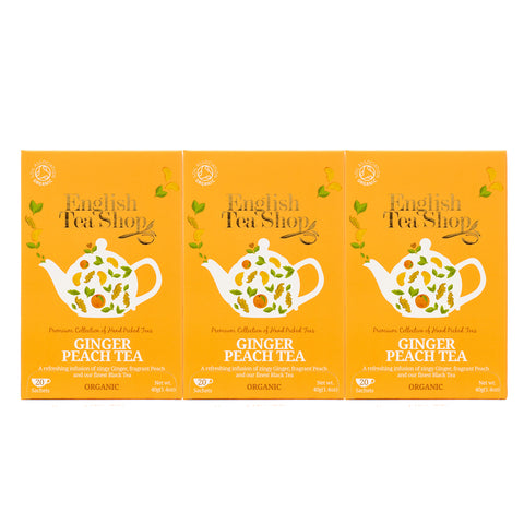 English Tea Shop Ginger Peach Tea Organic, 20 Sachet Tea Bags Pack of 3